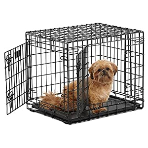 """Ultima Pro (Professional Series & Most Durable MidWest Dog Crate) Extra-Strong Double Door Folding Metal Dog Crate w/ Divider Panel, Floor Protecting """"Roller Feet"""" & Leak-Proof Plastic Pan"""