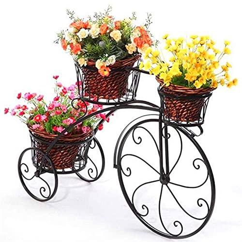 Estante para Flores, Bicicleta de Hierro Forjado Estante para Flores de múltiples Capas, Sala de Estar Interior Balcón Soporte para macetas de pie Exhibición y decoración, Almacenamiento