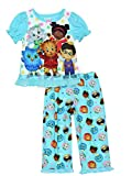 Daniel Tiger Toddler Girls Short Sleeve Poly Pajama Set (2T, Blue)
