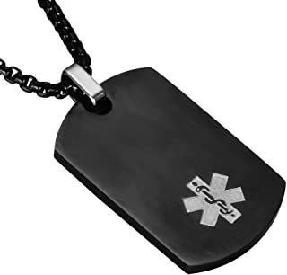 LF Stainless Steel DNR Medical Alert Dog Tag ID Pendant Caduceus Necklace for Men Women Teens Health Alert Monitoring Systems(Do Not Resuscitate)