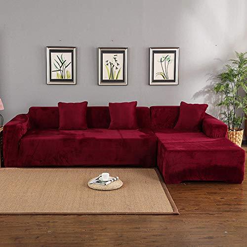 BKHBJ SHA fluweel 2 stks hoezen voor hoekbank woonkamer L gevormde Slipcover Case Elastische Stretch Home Decoratie Antifouling