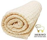 Wallaboo Eden, Manta de punto, 100% manta extrafina de lana merino, 90 x 70 cm, Ccolor Vanilla