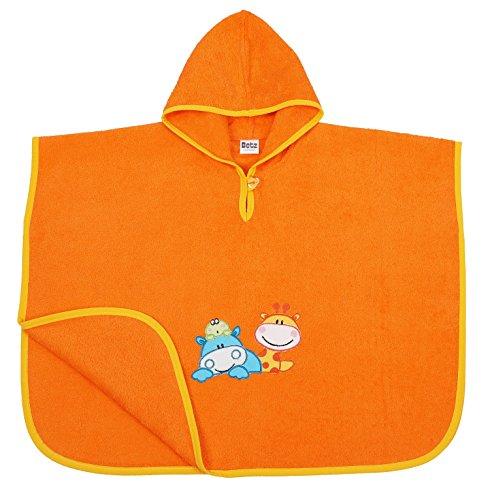 Betz Badeponcho Kinder Poncho mit Kapuze Poncho für Mädchen Jungen Badetuch Bademantel Kapuzenhandtuc Giraffe &Hippo 100% Baumwolle