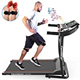 Famistar Folding Treadmill Running Machine - 1.5HP Electric Motorized Portable Treadmill with Heart Pulse System, LED Monitor, Built-in Mp3 Speaker, 12 Preset Programs, Low Noise for Home/Office/Gym