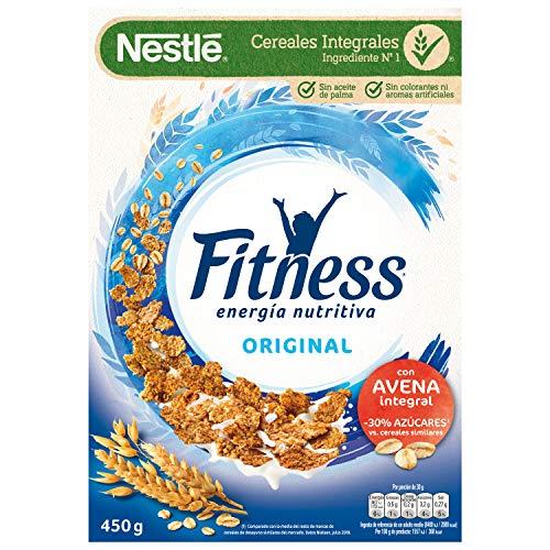 Cereales Nestlé Fitness Original - Copos de trigo integral, arroz y avena integral tostados - 12 paquetes de cereales de 450g