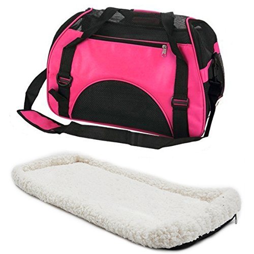 Dominiti Hundetasche mit Flauschiger Einlage und Schultergurt (pink)