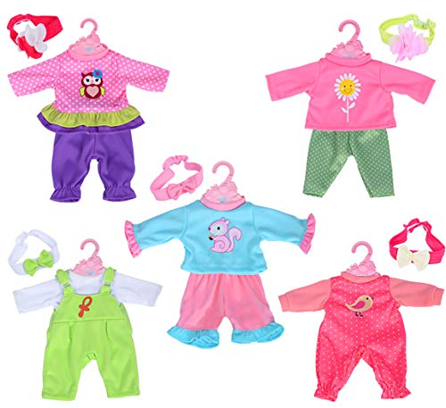 ebuddy Total 5-Sets Doll Clothes Outfits Accessories for for 10'-12'-13' Dolls Like 10-inch Baby Dolls /12-inch Alive Baby Dolls/ New Born Baby Dolls