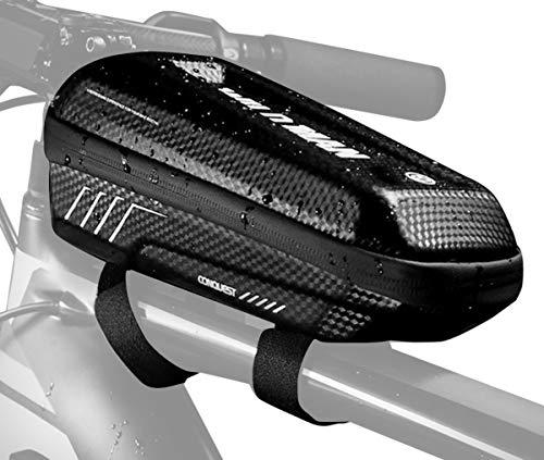 WILD MAN Sacoche de Cadre Vélo Tube EVA Croûte Zip Étanche Jacquard Velcro Réglable, Sac de Route Cyclisme VTT Intercalaire Couche Maille pour Chargeur Smartphone Clés Noir