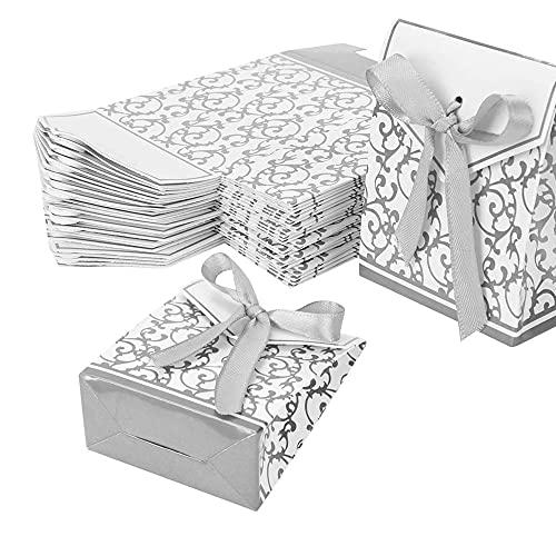 50PCS Bolsas de Papel de Regalo, Cajas de Dulces de Regalo de Boda, Caja de Papel para Dulces, Bolsas de Papel, Cajas de Regalo para Fiestas, Cajas de Dulces de Regalo de Pastel Dulce(Gris)