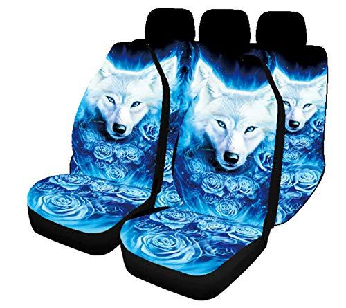EET Funda para Asiento De Coche Todo Incluido Universal Four Seasons Blue Rose Wolf Print 5 Plazas Conjunto Completo Carseat Protectors Compatible con Sedan/SUV/Pickup