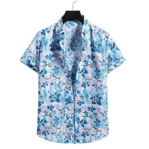 SSBZYES Camicia da Uomo Camicia da Spiaggia Estiva Camicia Casual da Uomo in Cotone E Lino Casual Hawaiano Camicia Floreale a Maniche Corte