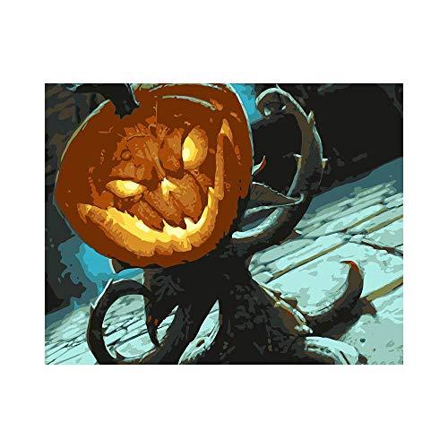 YANGSHUANG DIY Leinwand Ölgemälde Halloween Kürbis Handgemalt Ölgemälde auf Leinwand Geschenk Malen Nach Zahlen Kits Home Haus Dekor 40 x 50 cm(Ohne Rahmen)