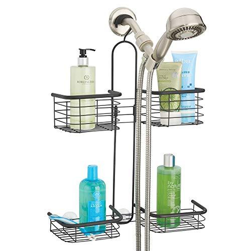 mDesign Duschregal fürs Badezimmer – Duschablage mit vier Körben für Shampoo, Conditioner, Duschgel und weiteres Badzubehör – Duschaufbewahrung aus rostbeständigem Metall – schwarz