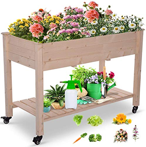 Raised Garden Bed, Elevated Wooden Planter Box, 48x22x30 in Garden Boxes, Raised Garden Bed with Legs for Growing Vegetables, Flowers, Plants Outdoor Patio, Deck, Balcony (with Wheels)