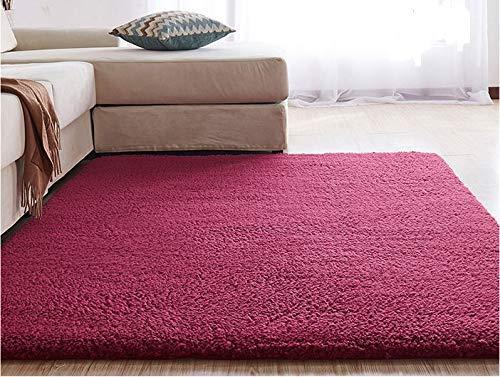 Teppich Teppich Haus Soft-Non-Schuppen Thick Plain leicht zu reinigen Fluffy Teppich Ontario-16 Farben und 8 (Wein-Rot-80 * 200cm)