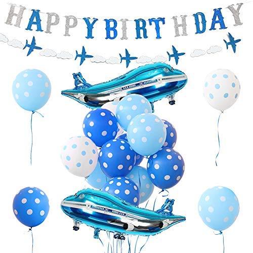 Flugzeug-Geburtstagsdekoration, Flugzeugballons, Geburtstagsbanner für Jungen Geburtstag Party Supplies