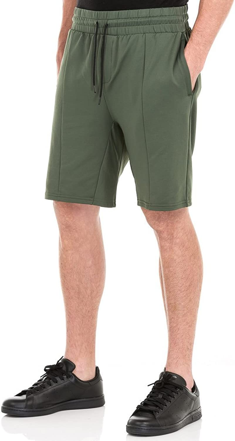 UNCL Men's Slouchy Layered Knit Athletic Shorts, Army Green, Small