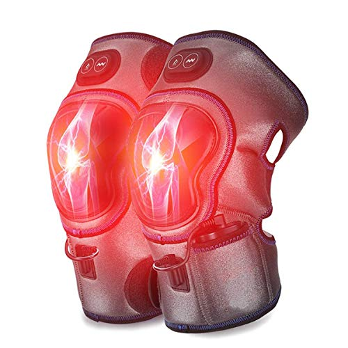 Knee Massager with Heat and Kneading for Joint Pain Relief, Goldmille Electric Vibration Knee Brace Wrap Rechargeable - Warm Therapy for Arthritis, Cramps, Meniscus Pain( 1 Pair)