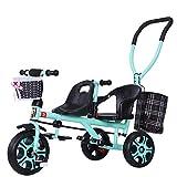 Cochecito de bebé, GUO@ Carro de bebé Doble Doble de la Carretilla del Triciclo de los niños con la Barra de Empuje Posterior