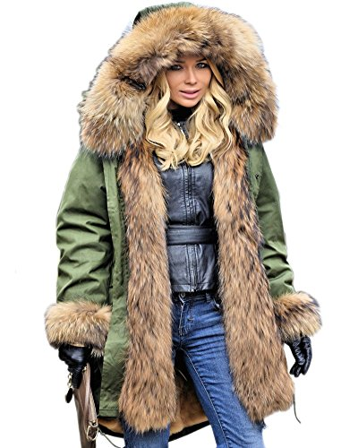 Aofur Womens Hooded Faux Fur Lined Warm Coats Parkas Anroaks Outwear Winter Long Jackets (Small, Green)