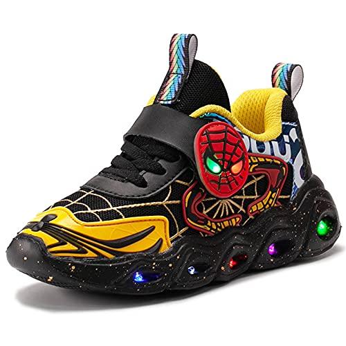 HAOYUXIN Zapatillas de Deporte de Malla para niños Spiderman, Luces LED, Luminosas, para niños, Zapatillas Deportivas Ligeras con Personalidad Baja,Yellow-33EU