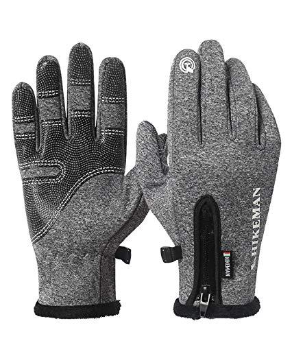 HIKEMAN Vollfinger-Touchscreen Warme Fahrradhandschuhe für Männer und Frauen, leichte und wasserdichte Handschuhe, ideal zum Radfahren, Laufen, Motorradfahren, Wandern, Camping, (grey, L)