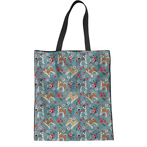 POLERO Damen Schultertasche Segeltuch Tasche für Frauen Mädchen Schultasche Strand Handtasche Shopper Tasche Japanisches Hundemuster Leichte Handtasche