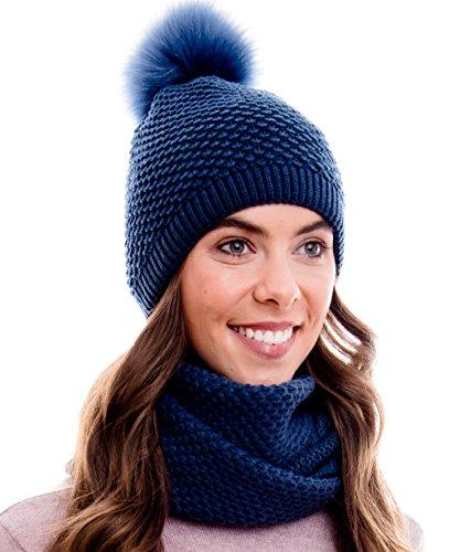 Hilltop Conjunto de invierno, compuesto por bufanda y gorro de punto a juego (beanie con pompón), 100% algodón, conjunto de invierno:azul