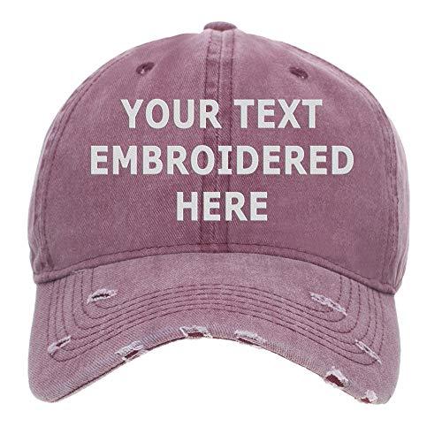 Gorra de béisbol Opromo personalizada con texto bordado, vintage, algodón lavado desgastado Rojo rosso Talla única