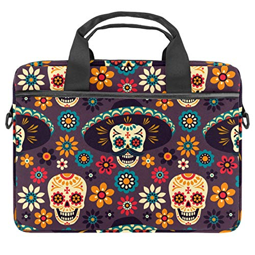 Laptop Bag Floral Skulls Funny Colorful Notebook Sleeve with Handle 13.4-14.5 inches Carrying Shoulder Bag Briefcase