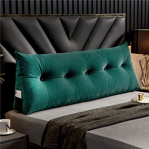 Cojín de cuña de color sólido tapizado almohada de lectura triangular cabecero de terciopelo respaldo respaldo soporte de posicionamiento almohadilla lumbar para sofá cama-verde 120x20x50cm (47x8x20)