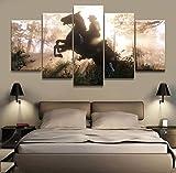 GIRDSS Tableaux Impressions sur Toile 5 Pièces Toile Jeu Affiche Western Jeu Personnage Homme Cheval À Cheval dans La Forêt Paysage Peinture Murale Décoration De La Maison Affiche 150X80Cm