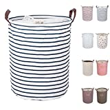 DOKEHOM 17.7-Inches Large Laundry Basket (9 Colors), Drawstring Waterproof Round Cotton Linen Collapsible...
