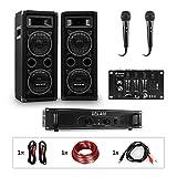 Auna Pro PW- MKII Lote de PA para Karaoke, Amplificador + 2 Altavoces pasivos de PA + Mezclador de DJ + 2 micrófonos, Amplificador de 2 Salidas de 200 W, 2 subwoofer de 6,5' / 600 W/de 3 vías, Negro