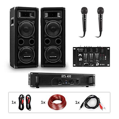 auna Pro PW - MKII PA-Set PA-Karaoke-Set, Verstärker + 2 Passive PA-Lautsprecher + DJ-Mixer + 2 Mikrofone, Verstärker: 2 x 200 Wmax, Boxen: 2 x 6,5