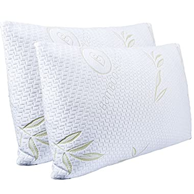 Hotel Comfort Bamboo Sleep - Ultra Cool Bamboo Memory Foam Pillow - Hypoallergenic Washable Cover - Queen Size (2 Pack)