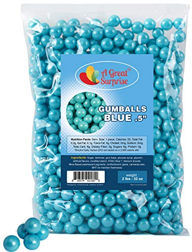 Light Blue Gumballs for Candy Buffet - Apx. 620 Gumballs - 2 Pounds - Blue Candy - Mini Shimmer Gumballs 1/2 Inch - Bulk Candy