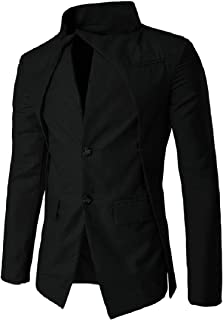 Winwinus Men's Stand-up Collar 2 Button Cozy Coat Jacket Blazer Outwear