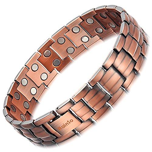 Herren-Armband von Rainso, doppelreihig, aus Kupfer, therapeutisch, zur Linderung von Arthritis-Schmerzen