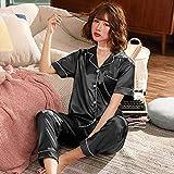 Astemdhj Camisón Sexy Pijamas Plus Size 5XL Summer Silk Women Conjuntos De Pijamas De Manga Corta con Pantalones Pijama De Seda Ropa De Dormir Pijamas De Satén 85 Kg Ropa De Dormir XXXL Neg
