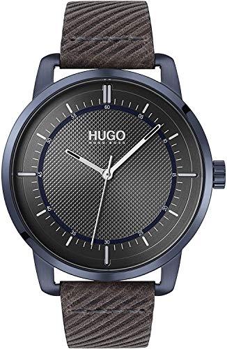 HUGO Reloj Analógico para Unisex Adulto de Cuarzo con Correa en Cuero 1530102