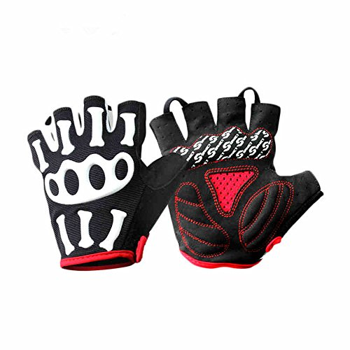 Best Black Pink Ghost Claw Outdoor Roller Skating BMX Weightlifting Motorcycle Street Bike Hunting Tactical Motocross Dirt Bike Mountain Biker Strength Training Padded Gloves Skeleton (Black, M)