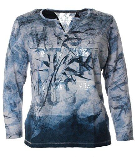 No Secret Damen Langarm Tunika Shirt warm doppellagig mit V-Ausschnitt Blau Pailletten, Größe:44