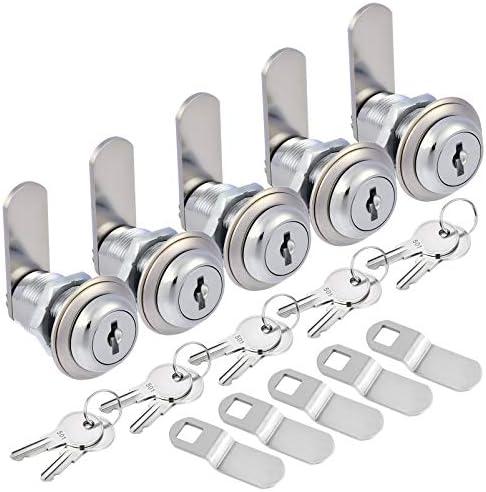 Kohree Upgrade Cabinet Cam Lock Set 5 Pack Keyed Alike 1 1 8 Inch Cam Locks Secure File Drawer product image