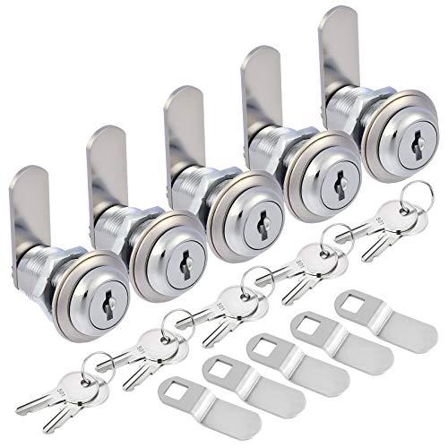 Kohree Upgrade Cabinet Cam Lock Set, 5 Pack Keyed Alike 1-1/8 Inch Cam Locks Secure File Drawer Dresser Mailbox RV Cylinder Replacement Lock Hardware, Chrome-Finish Zinc Alloy