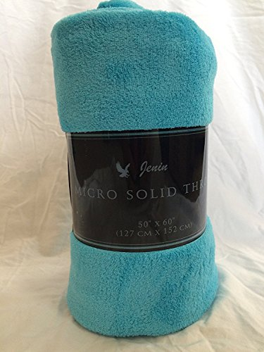 Goldenlinens Ultra Soft Cozy Plush Fleece Warm Solid Colors Traveling Throw Blanket 50' X 60' (127 cm X 152 cm) (Turquoise)