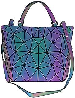 حقائب يد نسائية حقائب وحقائب يد بتصميم هندسي مضيء، حقيبة ظهر عاكسة للضوء
