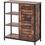 Armario de almacenamiento, armario de suelo, 3 estantes abiertos y compartimentos cerrados para sala de estar, dormitorio, pasillo, cocina, industrial, marrón rústico