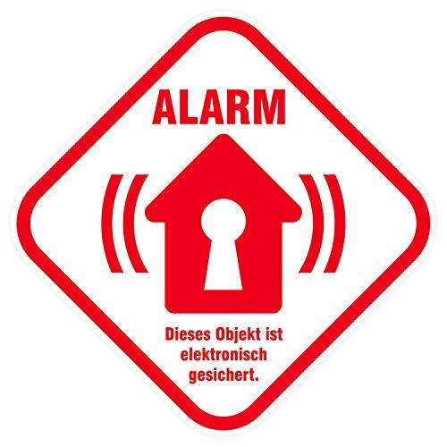 Alarm Aufkleber Alarmanlage Alarmgesichert Sticker - 8,5 x 8,5 cm - Einbruch Schutz für KFZ Auto Wohnmobil Haus Firma mit UV Schutz Wetterfest Außen & Innen