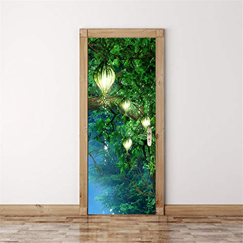 MACHINE BOY Removable Door Sticker Peruviana Among The Woods Wallpaper for Bedroom Living Room Mural Home Decor Size 90 * 200cm